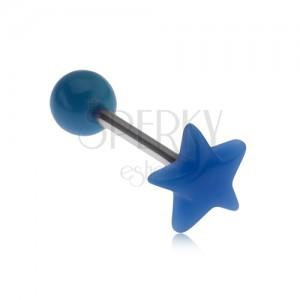 Piercing do jazyka, modrá pěticípá hvězda