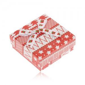 Červenobílá krabička na náušnice, hvězdy, stromy, kuličky, mašle