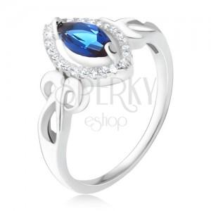 Prsten - modrý zrníčkovitý zirkon, čirý lem, zakroucené proužky, stříbro 925