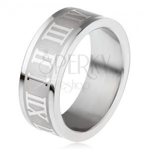Ocelový prsten, gravírovaný pás s římskými číslicemi