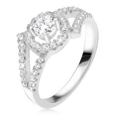 Stříbrný 925 prsten, rozvětvená ramena, okrouhlý kámen s lemem K4.2