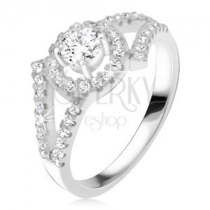 Stříbrný 925 prsten, rozvětvená ramena, okrouhlý kámen s lemem