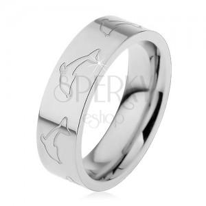 Prsten z oceli 316L, matný povrch, obrysy delfínů