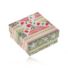 Krabička na náušnice, zeleno-červený vianočný motív, ozdobná mašľa