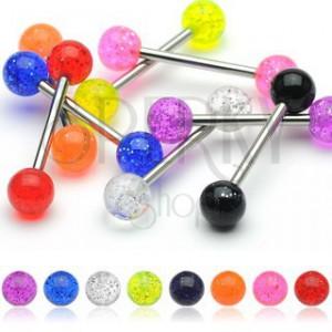 Piercing do jazyka, barevné kuličky se třpytkami