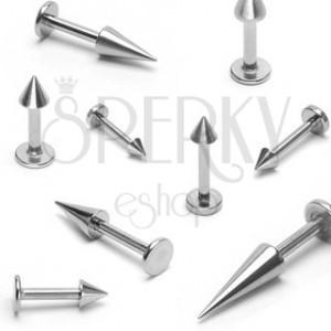 Ocelový piercing do brady, lesklý hrot