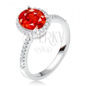 Prsten ze stříbra 925, vystouplý zirkonový kotlík, červený kámen