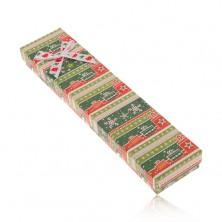 Podlhovastá darčeková krabička, zeleno-červený motív Vianoc, mašľa