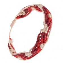 Šnúrkový náramok bielej, červenej a bordovej farby, motív vĺn