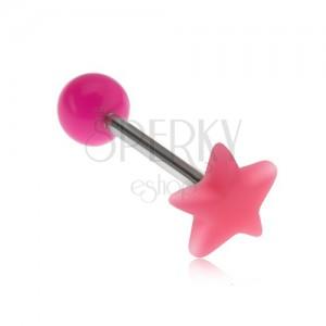 Piercing do jazyka, lesklá hvězda růžové barvy