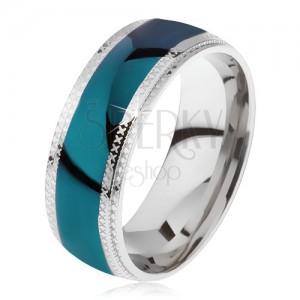 Ocelový prsten, lesklý azurový pás, rýhované okraje