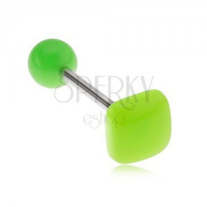 Piercing do jazyka, lesklý neonově zelený čtverec