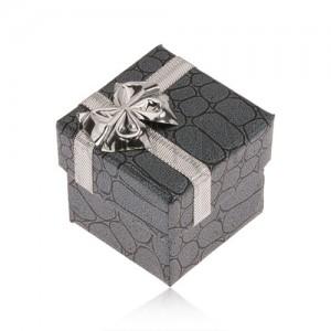 Dárková krabička šedo-černé barvy, kameny, stříbrná mašle