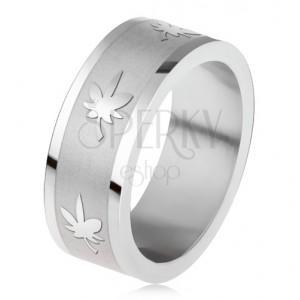Prsten z chirurgické oceli, gravírovaný pás, listy marihuany