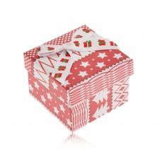 Červeno-biela darčeková krabička, vianočný motív, mašľa
