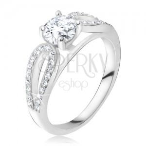 Stříbrný 925 prsten, kulatý kamínek mezi zirkonovými kapkami