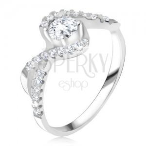 Prsten s čirým kamínkem, zakroucené linie, zirkonová ramena, stříbro 925