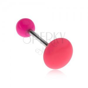 Piercing do jazyka růžové barvy, lesklý hladký kruh