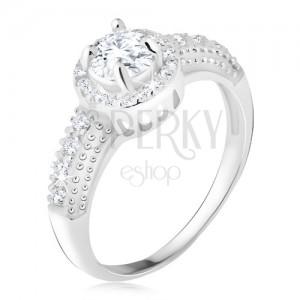Stříbrný 925 prsten, čirý zirkon s lemem, zirkonová ramena
