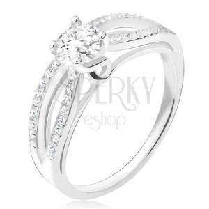 Prsten ze stříbra 925, zirkonové elipsy, čirý okrouhlý kamínek