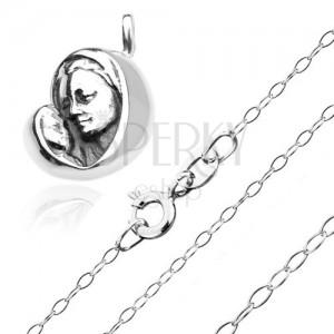 Stříbrný 925 náhrdelník - madona s děťátkem na blyštivém řetízku