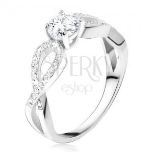 Prsten s čirým okrouhlým kamenem, zirkonové smyčky, stříbro 925