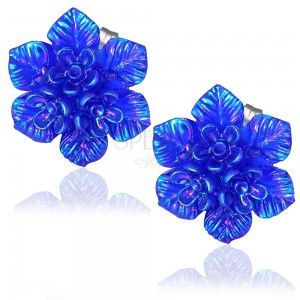 Puzetové náušnice, modrá kytice z pryskyřice