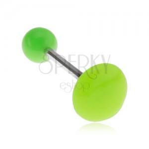 Neonově zelený piercing do jazyka, lesklý hladký kruh