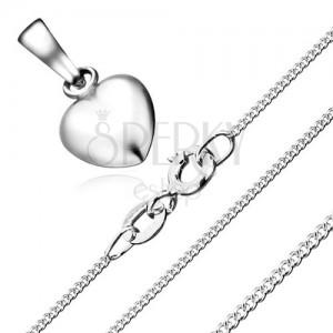 Náhrdelník - souměrné srdce a řetízek ze zakroucených oček, stříbro 925