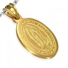 Oválný ocelový medailon zlaté barvy, nanebevzetí madony, 15 x 22 mm