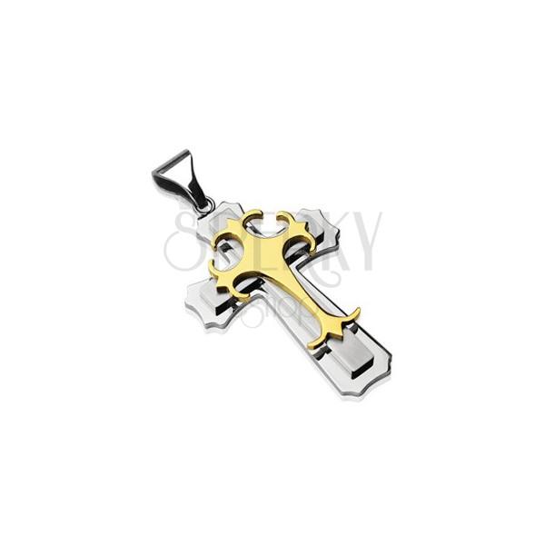 Přívěsek z chirurgické oceli - trojitý kříž zlaté a stříbrné barvy