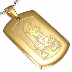 Ocelový medailon zlaté barvy, děti modlící se k Panně Marii