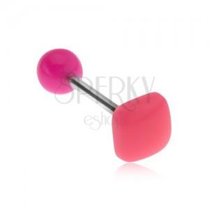 Piercing do jazyka, lesklý vypouklý čtverec neonově růžové barvy