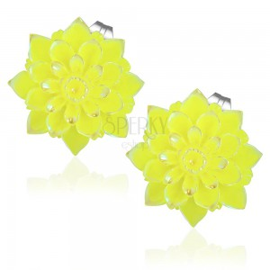 Náušnice z oceli 316L - žlutá chryzantéma s duhovým leskem