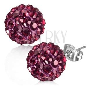 Ocelové náušnice, růžová Shamballa kulička, broušené kamínky