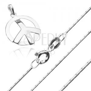 Stříbrný 925 náhrdelník - hranatý řetízek a symbol míru