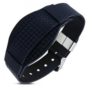 Černý pryžový náramek, károvaný vzor, hodinkový styl