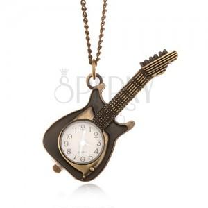 Řetízek s hodinkami - ozdobně patinovaná elektrická kytara, bílý ciferník