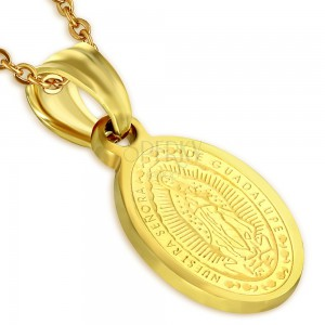Ocelový medailon zlaté barvy, nanebevzetí Panny Marie, 11 x 15 mm