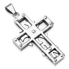Přívěsek z chirurgické oceli - kříž s kolečky