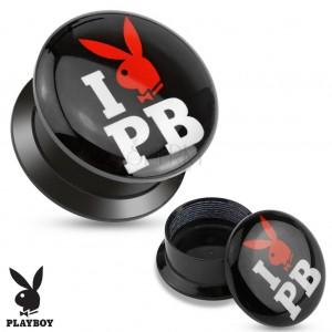 Černý šroubovací plug z akrylu - I love Playboy