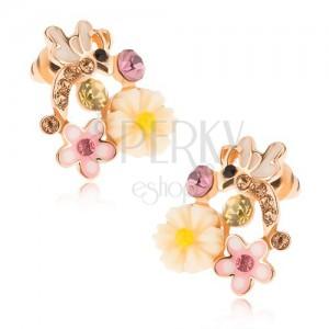 Blyštivé puzetové náušnice zlaté barvy, vážka, barevné květy a kamínky