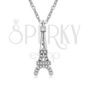 Lesklý náhrdelník s přívěskem Eiffelovy věže, čiré kamínky
