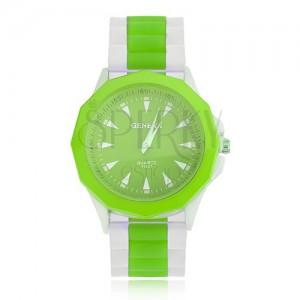 Analogové hodinky zelenobílé barvy, zelený ciferník, silikonový řemínek