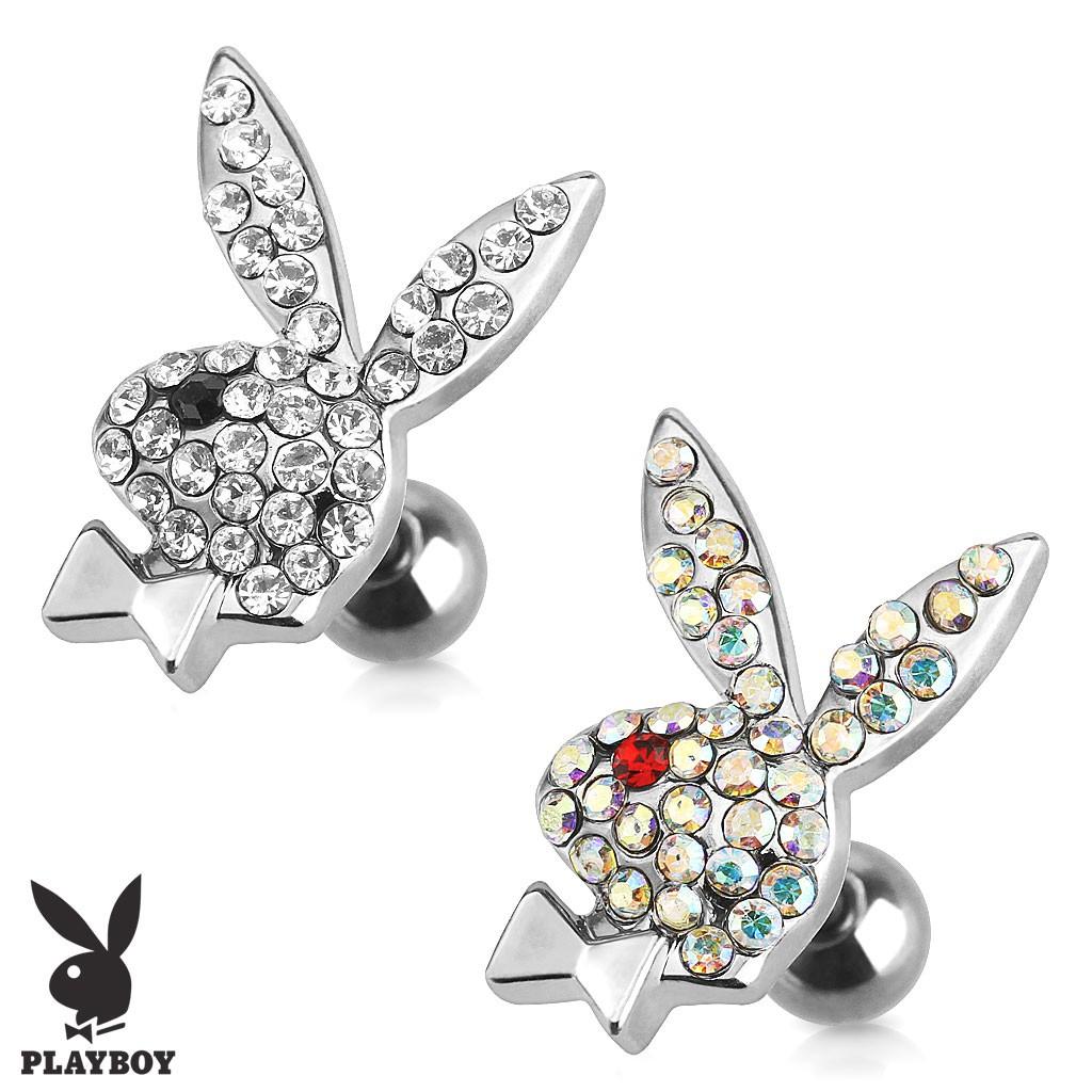 Ocelový piercing do tragu, zirkonový zajíček Playboy - Barva zirkonu: Čirá - Černá