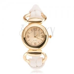 Náramkové hodinky - ciferník zlaté barvy, lesklý bílý ozdobný řemínek