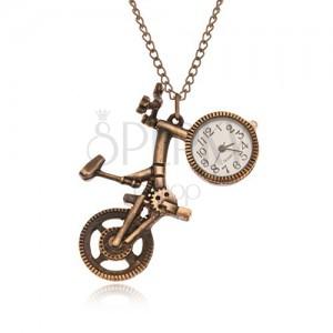 Řetízek s hodinkami - bicykl matné zlaté barvy, ciferník v kole