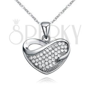 Lesklý náhrdelník s přívěskem zirkonového srdce se slzičkovitým výřezem