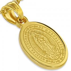 Ocelový medailon zlaté barvy, nanebevzetí Panny Marie, 13 x 19 mm