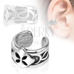 Fake piercing do ucha, rhodiovaný, čtverec se čtyřlístkem